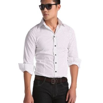 White New Fashion Stylish Men's Slim Fit Casual Formal Wear Dots Blouse Shirt