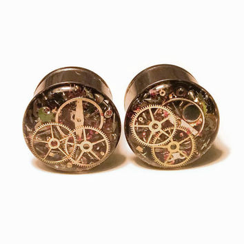 5/8 1 PAIR Single Flare Steampunk Tunnels Gauges Plugs filled with watch parts LIMITED EDITION