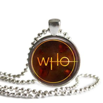 Doctor Who Logo Silver Plated Pendant Necklace Handmade