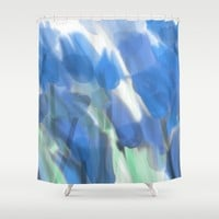 Meadow Flowers  In Soft Blue Shower Curtain by Jen Warmuth Art And Design