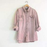 Vintage distressed wash out boyfriend shirt / faded pink purple shirt / destroyed grunge shirt / tomboy shirt