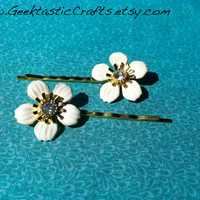 Cream & Gold Flower Bobby Pins Antique Style