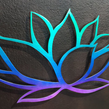 Tri-Colored Lotus Flower Metal Wall Art - Metal Art - Yoga - Buddha - Om - Metal Lotus Flower