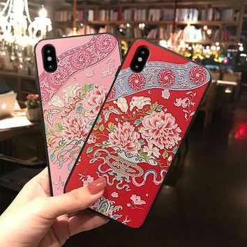 for iphone6 case 6s plus creative relief 7 mobile phone shell 7plus drop 8 protective sleeve 8plus noble and beautiful soft case