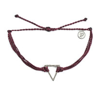 Silver Hammered Triangle Burgundy