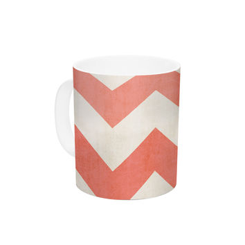 "Ann Barnes ""Vintage Coral"" Orange Chevron Ceramic Coffee Mug"