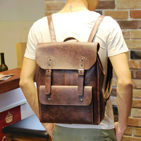 Men's 14 Inch Laptop Bag Leather Travel Backpack