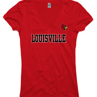 Louisville Cards Cardinals Cardinal Womens Straightaway Short Sleeve V-Neck