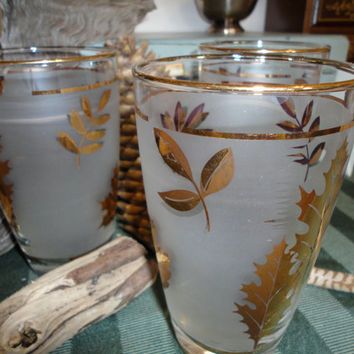 Gold Leaf Libbey Frosted Bar Ware Beverage Glasses