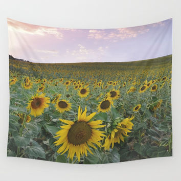 Happy sunflowers Wall Tapestry by Guido Montañés