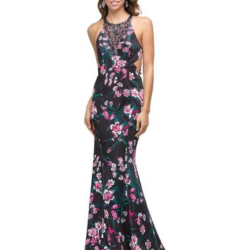 High neck Floral Mermaid Prom dress DQ9876