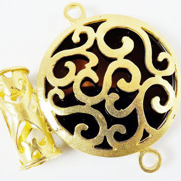 Large Black Onyx Swirly Fretwork Slider Connector Pendant - Gold plated 1pc