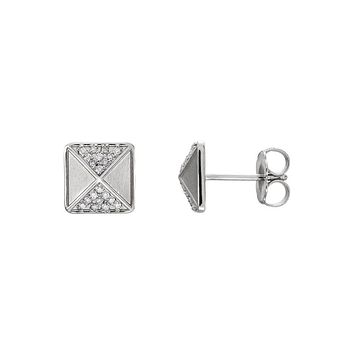 8mm Diamond Accented Pyramid Stud Earrings in 14k White Gold
