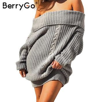 BerryGo Tricot off shoulder winter loose dress women Knitting oversized sweater dress 2017 Autumn new casual pullovers dress