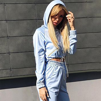 Women Casual Solid Color Zip Long Sleeve Hooded Sweater Crop Tops Trousers Set Two-Piece Sportswear