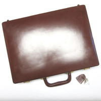 Vintage Tumi Leather Briefcase Burnt Sienna, 70's Locking With Keys