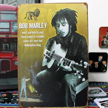50pcs/lot Metal Sign shabby chic Bob Marley Singer Guitarist Wailer Retro Metal Tin Signs Decor Wall Poster A-64