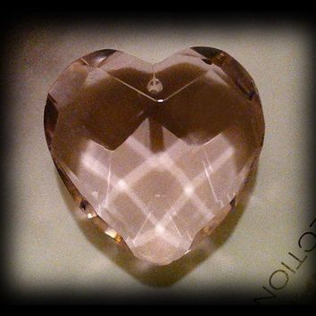4 Large Divine Love Crystal Heart Pendant Pink Faceted 36mm big large jumbo hearts