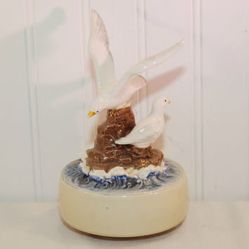 Vintage Otagiri Japan Seagull Music Box (c. 1979) Made In Japan, Plays The Song Misty, Handpainted, Collectible, Beach Decor, Gift Idea
