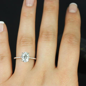 Blake Medio Size 14kt Rose Gold Oval FB Moissanite and Diamonds Cathedral Engagement Ring (Other metals and stone options available)