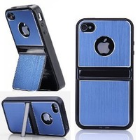 Cell Phones & Accessories BLUE Aluminum TPU Hard Case Cover W/Chrome Stand For iPhone 4 4G 4S & Screen Protectors + Stylus