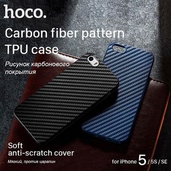 Hoco for Apple iPhone 5 5S SE Protective Case Ultrathin Soft Cover Carbon Fiber Pattern Premium Cases Shell Phone Protection
