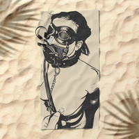 Master is her most important gasp of air - breath play in fetish BDSM style, adult black and white Beach Towel by Casemiro Arts - Peter Reiss