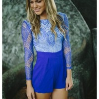 Tori- Royal blue lace long sleeve romper.