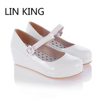 LIN KING Spring Autumn Sweet High Heel Cosplay Lolita Shoes Fashion Buckle Women Pumps Wedges Brand Lady Platform Shoes Female