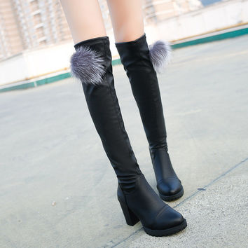 2017 Autumn Winter Shoes Women Boots Chuzzle Soft Leather Over The Knee High Boots High Heels Ladies Cute Booties Botas SNE-233