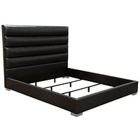 Bardot Channel Tufted Cal King Bed in Black Leatherette