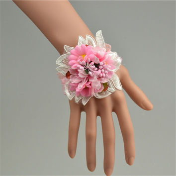 New high quality handmade blue wedding wrist flower bride bridesmaids pink wrist corsage bridal wrist bouquets simulation flower