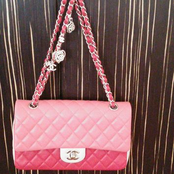Chanel 2014 Valentine Collection Tricolor Pink Red Quilted Flap Medium Bag
