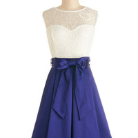 ModCloth Mid-length Sleeveless Twofer Nuanced Narrator Dress in Navy