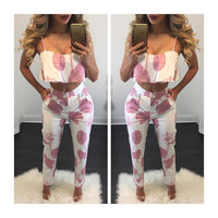 Strap Crop Top 9/10 Pant Flower Print Two Pieces Set