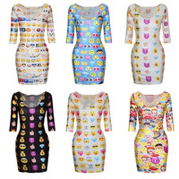Feelingirl Black Women's Fashion Emoji Slim Fit Long Sleeve Stretchy Hip Package Shirt Dress punk style 3D print funny emoji dress = 1696865732