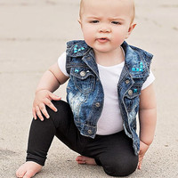 Bora Bora Blue Vest - Boys Vest - Baby Onepiece - Baby Girl Vest - Toddler Vest - Baby boy blue outfit - blue outfit for baby boy