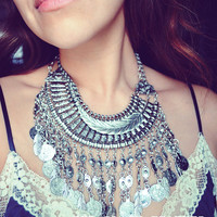 Silver Tribal Coin and Feather Bib Necklace