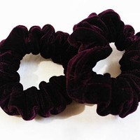 Deep Purple Velvet Hair Scrunchies, Hair Ties, Gentle Hair Elastic, Hair Accessories and Handmade Favors or Gifts