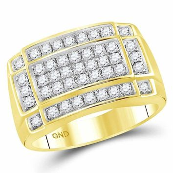 10kt Yellow Gold Men's Round Diamond Rectangle Cluster Ring 1.00 Cttw - FREE Shipping (US/CAN)