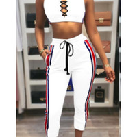 Straps Crop Top with Pants Two Pieces Set