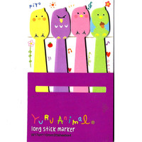 Long Angry Birds Shaped Animal Themed Memo Post-it Sticker Marker Pad