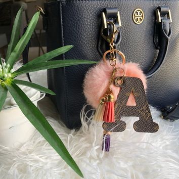 Upcycled Authentic Louis Vuitton Monogram Key Chain/Bag Charm, Pompom+Tassels