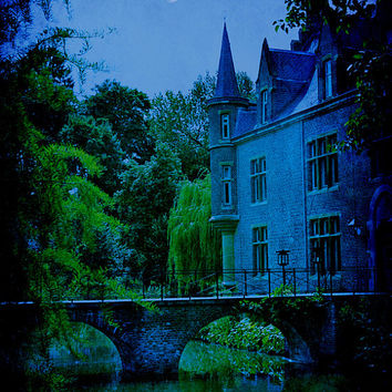 Surreal Castle Photograph, Enchanted, Halloween Decor, Magical, Spooky, Bridge, Moon, Photographic Art - New Moon