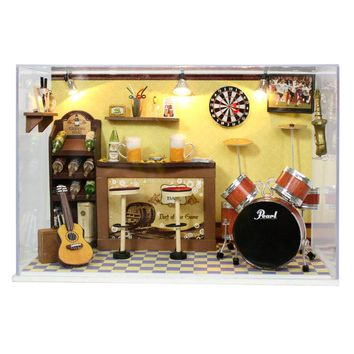 Miniature Wooden Music Room Dollhouse