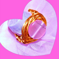 Pink Cateye Ring ,Wrapped Copper Wire , Woman ,Direct Checkout ,Jewelry
