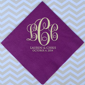100 Monogram Wedding Napkins with Names and Date
