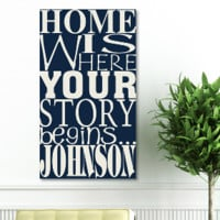 """18""""x24"""" Canvas - Where Our Story Begins - Dream Navy"""
