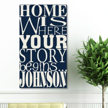 "18""x24"" Canvas - Where Our Story Begins - Dream Navy"