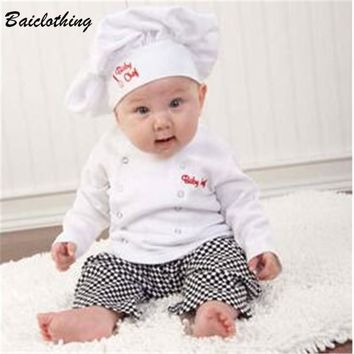 Hot !!! Cute Baby infant toddler Chef cotton Costume 3 piece clothes Hat+ white Top+plaid Pants for Boys Girls suits